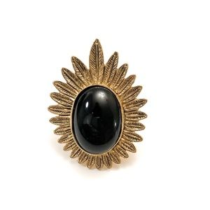 House of Harlow Feather Locket Ring With Cabochon